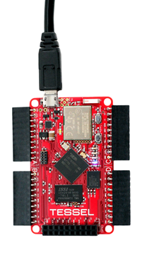 The Tessel Main Controller. It has 4 ports (the 4 protruding black rectangles) that allow for 'modules' to be connected to it.
