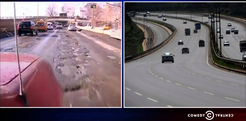 The Daily Show's new host, Trevor Noah mocking NYC's potholes.