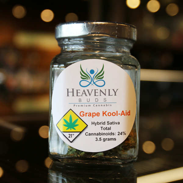 Grape Kool- Aid by Heavenly Buds - This cross between Purple Diesel and Cherry Pie brings together the best of both worlds with berry flavored and energy-boosting properties. A quick toke before a hike? Yes please!