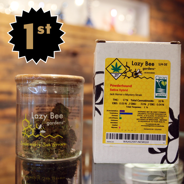 Powderhound by Lazy Bee Gardens - First place in the Sungrown Flower category! We've been in love with the Methow Valley's Lazy Bee Gardens since we first started carrying them on our menu. They represent the pinnacle of artisan, naturally-grown outdoor cannabis in the PNW. Big ups to Matt and the LBG team for this well deserved win. The Powderhound strain is a Sativa hybrid, a cross between Jack Herrer and Mystery Strain.