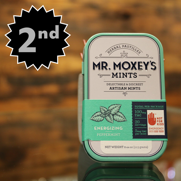 Mr. Moxey's Sativa Peppermints - A favorite of guests and budtenders alike at The Novel Tree, this uplifting and energizing mint took home 2nd place honors in the Edibles category. With 5mg of THC per mint, this is a great on the go option for microdosing. Who couldn't use a bit of a boost?
