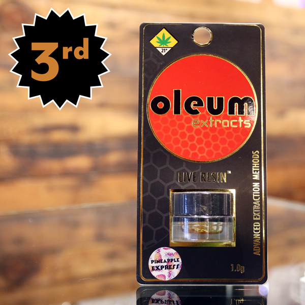 Oleum Pineapple Express Live Resin - This Sativa-dominant hybrid live resin is a tasty terpene-rich dabber's delight. 67% THC with notes of Humulene, Caryophyllene and Limone for serious flavorful dabs. No additives, just oil!