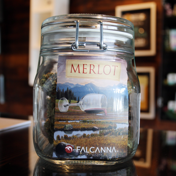 """Merlot - 40% Indica / 60% SativaNotes from Falcanna: """"Merlot is a cross between Dr. Greenspoon, which accounts for its unique look and Grape Ape, which gives it the robust grape/wine flavor. The perfect strain for getting out and exploring the world while feeling like you are wearing rose-colored glasses. It has a clear-mind effect that is awesome for appreciating the day."""""""
