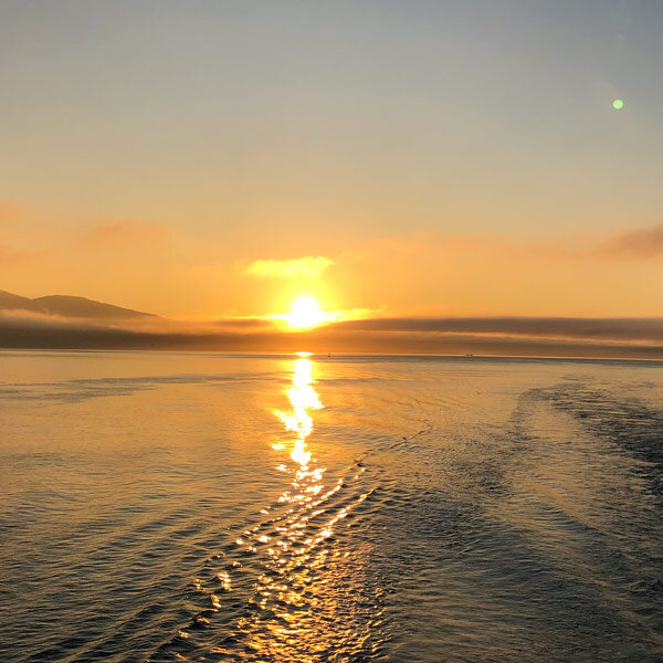 Aboard our ferry in the Puget Sound on the way to San Juan Island. Not a bad way to start the day!