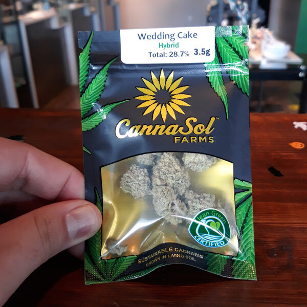 Wedding Cake by Cannasol - Indica-dominant Hybrid | 22% THCWedding Cake is a popular strain among Washington state cannabis growers, this time by premium sun-grown label Cannasol. Known for it's uplifting Sativa-like yet heady effects with pronounced citrus notes found in the smoke.visit cannasol.net