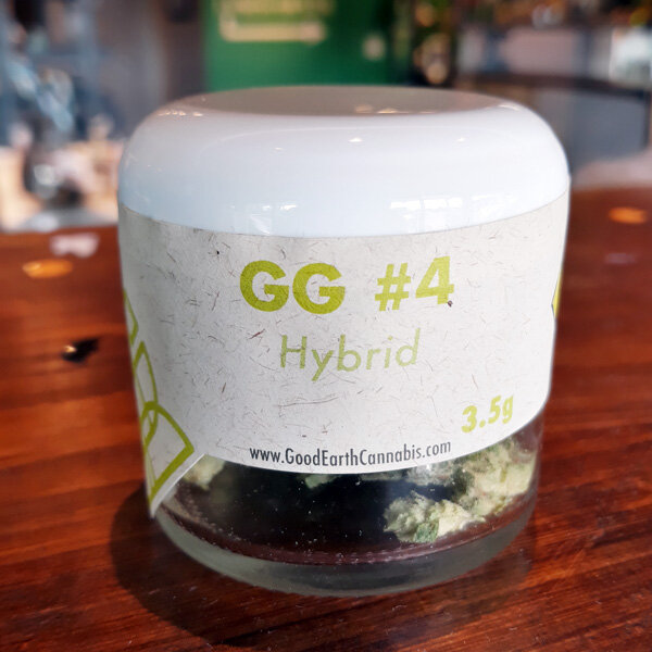 GG #4 by Good Earth - Hybrid | 22.7% THCYou'll be hard pressed to find prettier flower than Good Earth's, and the GG #4 is no exception. Euphoric and uplifting effects, this strain is a real mood lifter. The highly resinous buds contain sour, pungent notes when inhaled.see our Good Earth intro blog