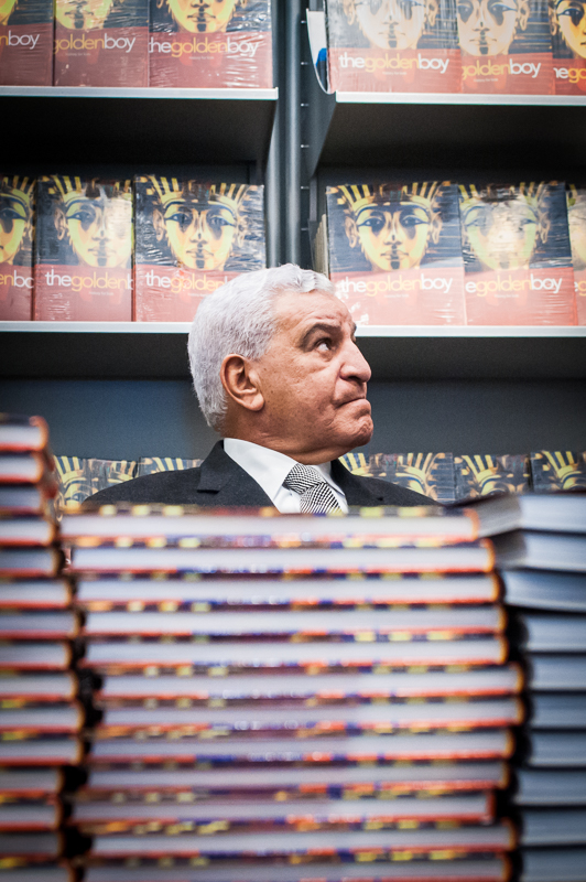 Zahi Hawass at the book signing.