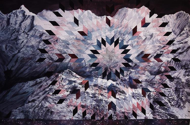"Matthew Mullins,  Ridgeline,  Watercolor on Paper, 60"" x 40"""