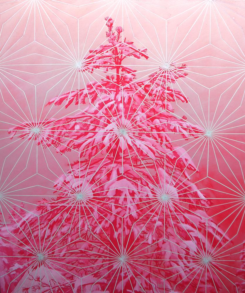 """Matthew Mullins,  Pink Pine,  Oil on Canvas, 40"""" x 30"""" (101cm x76cm)"""