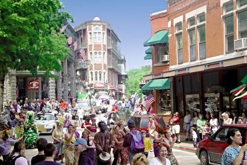 May Festival of the Arts in Downtown Eureka Springs (photo courtesy of EurekaSpringsMediaCenter.com).