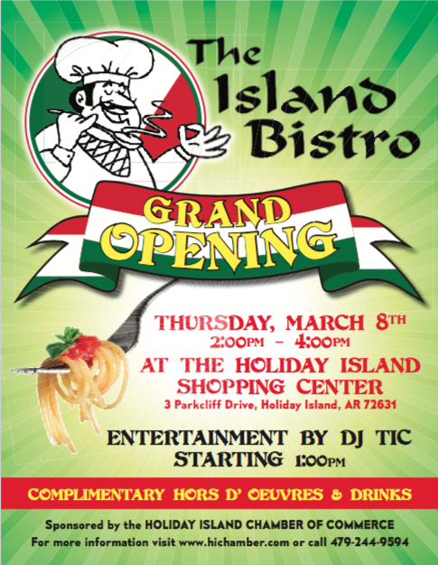 The Island Bistro's Grand Opening at Holiday Island Arkansas