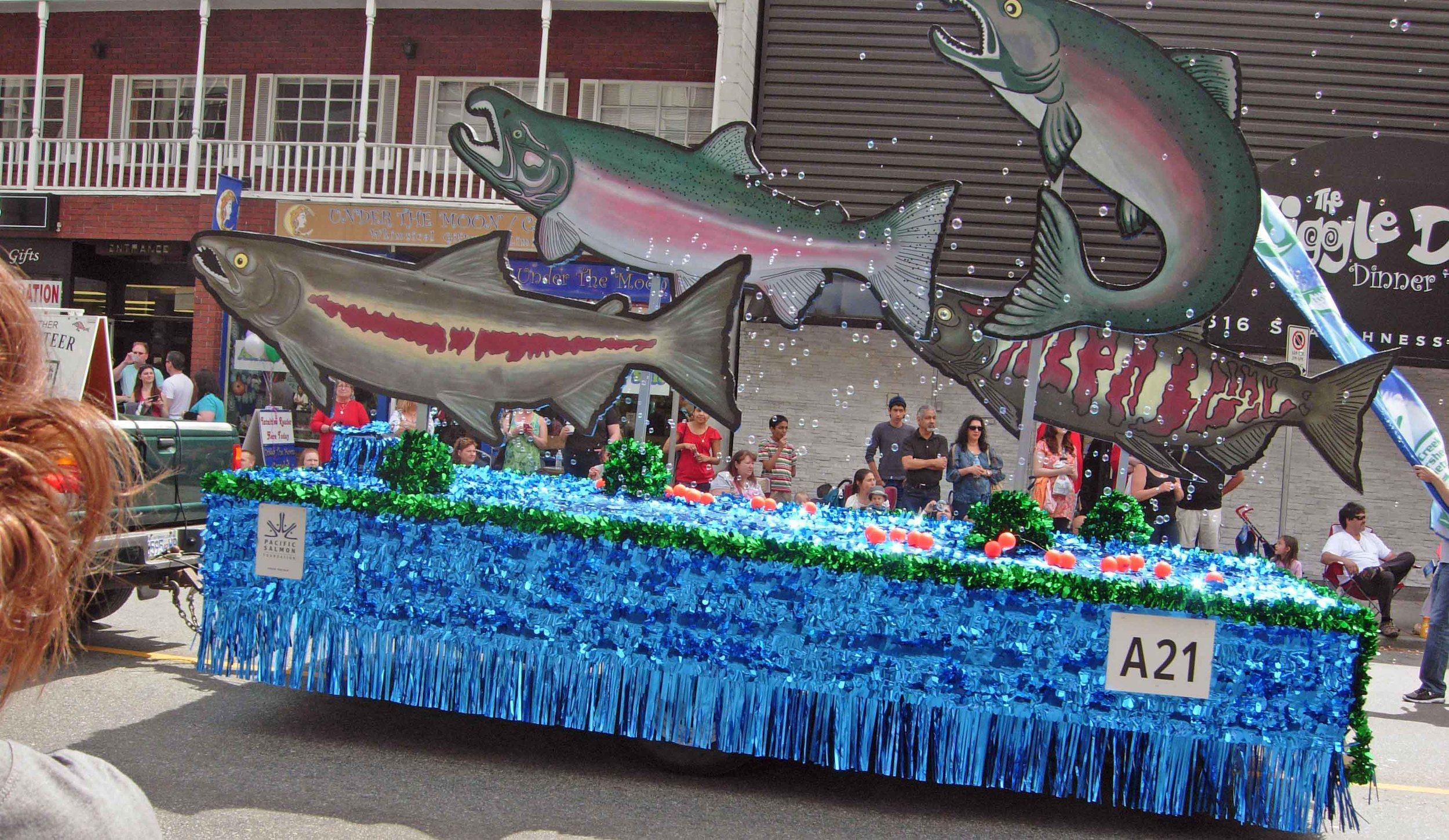 The Hyde Creek Watershed Society parade float.