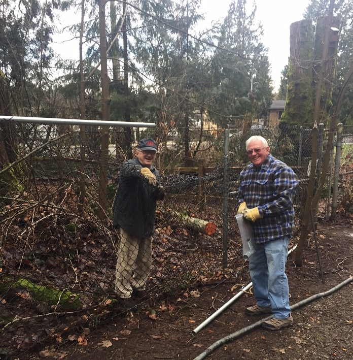 Tree Trunk Trouble - January 7th 2017On Sat. 7th a cottonwood tree fell damaging our fence. Thanks to the members who helped with the clean up work and the temporary fix to the fence. Gert, Mitch and Ed in photos