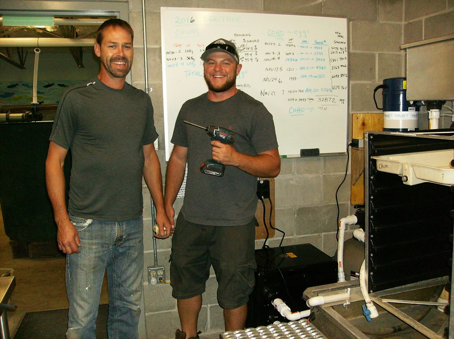 DFO Work - August 24, 2017Scott, Community Advisor and Tyler, Technician install new chiller and uv equipment.