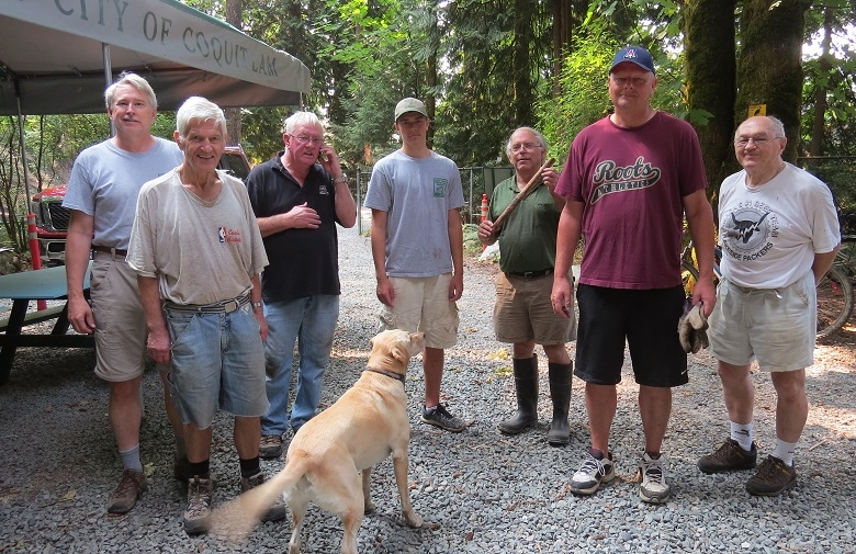 Creek Work - Aug 12, 2017Summer creek work removing snags and debris in Hyde Creek. Dams can form during storms and block access to spawning beds. Brad, Bruno, Ed, Vlad, Terry, Mitch, Gert (and Shane) cleared a number of spots along Hyde Creek. Before & after photos of one larger clear out.