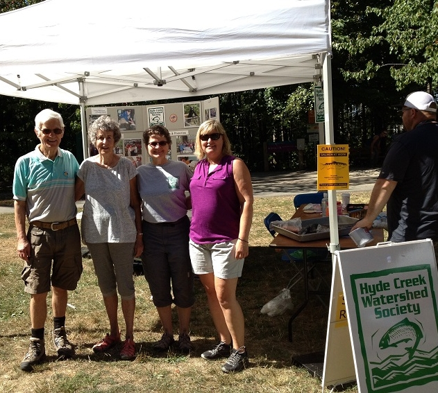 150 Celebration - August 26, 2017Bruno, Carol, Linda & Marianne set up our display at Port Coquitlam's Canada 150 Celebration at Lion's Park.Bicycle visitors tour the hatchery.New Work Bench completed. Thanks Andy.Fish fence to keep fry back from creek pond during culvert work and pond clean out.