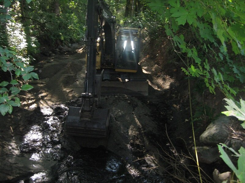 Hyde Creek Pond Clean Out - September 5, 2019Big thanks to the City of Port Coquitlam for removing 24 truck loads of sand and gravel that washed into Hyde Creek. Salmon will be returning to spawn Oct-Dec. Before and after photos.