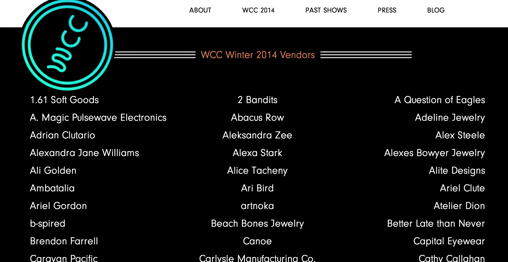 Click image for full list of vendors showing at West Coast Craft.