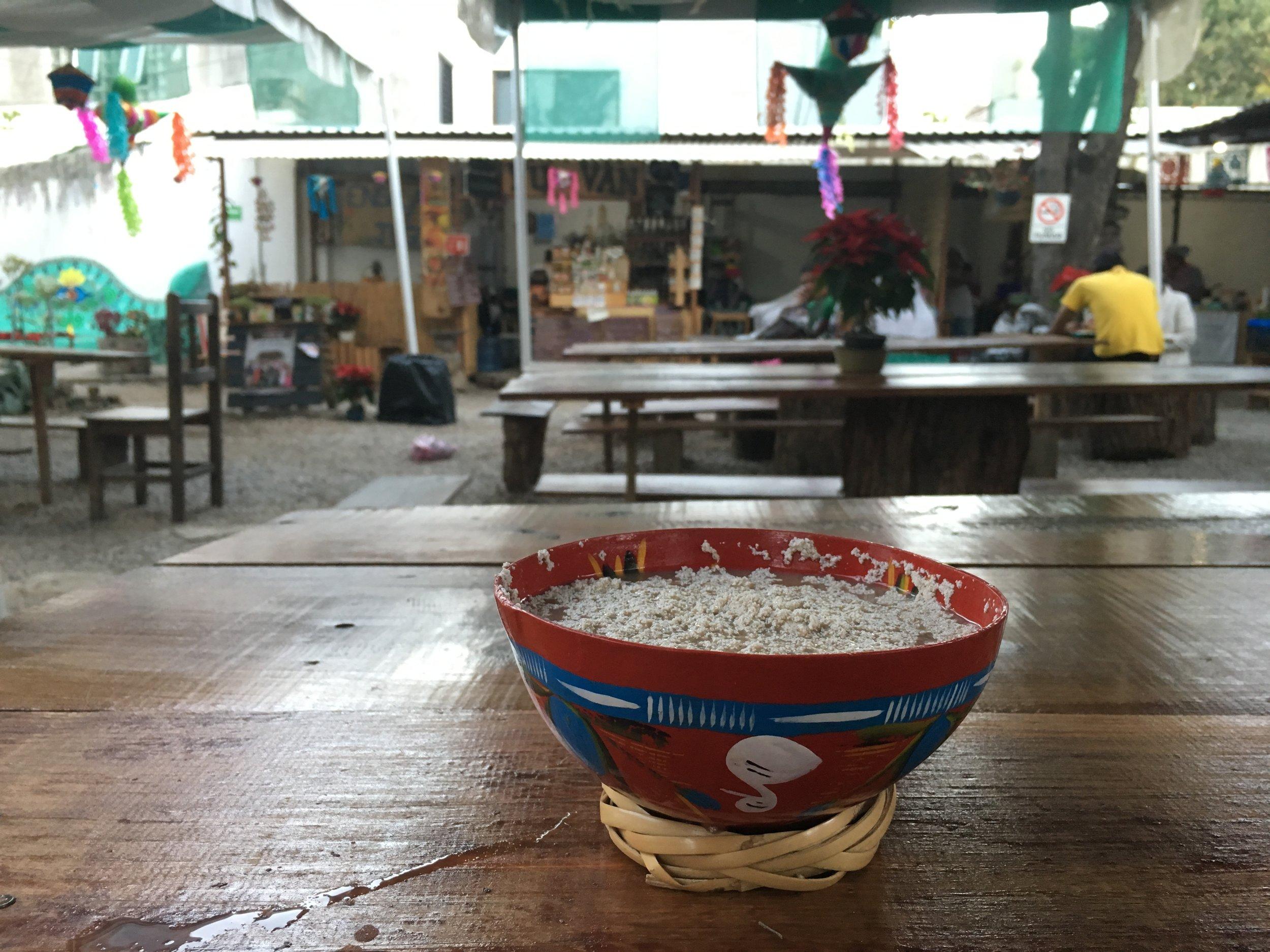 Chocolate Atole at La Cosecha Mercado