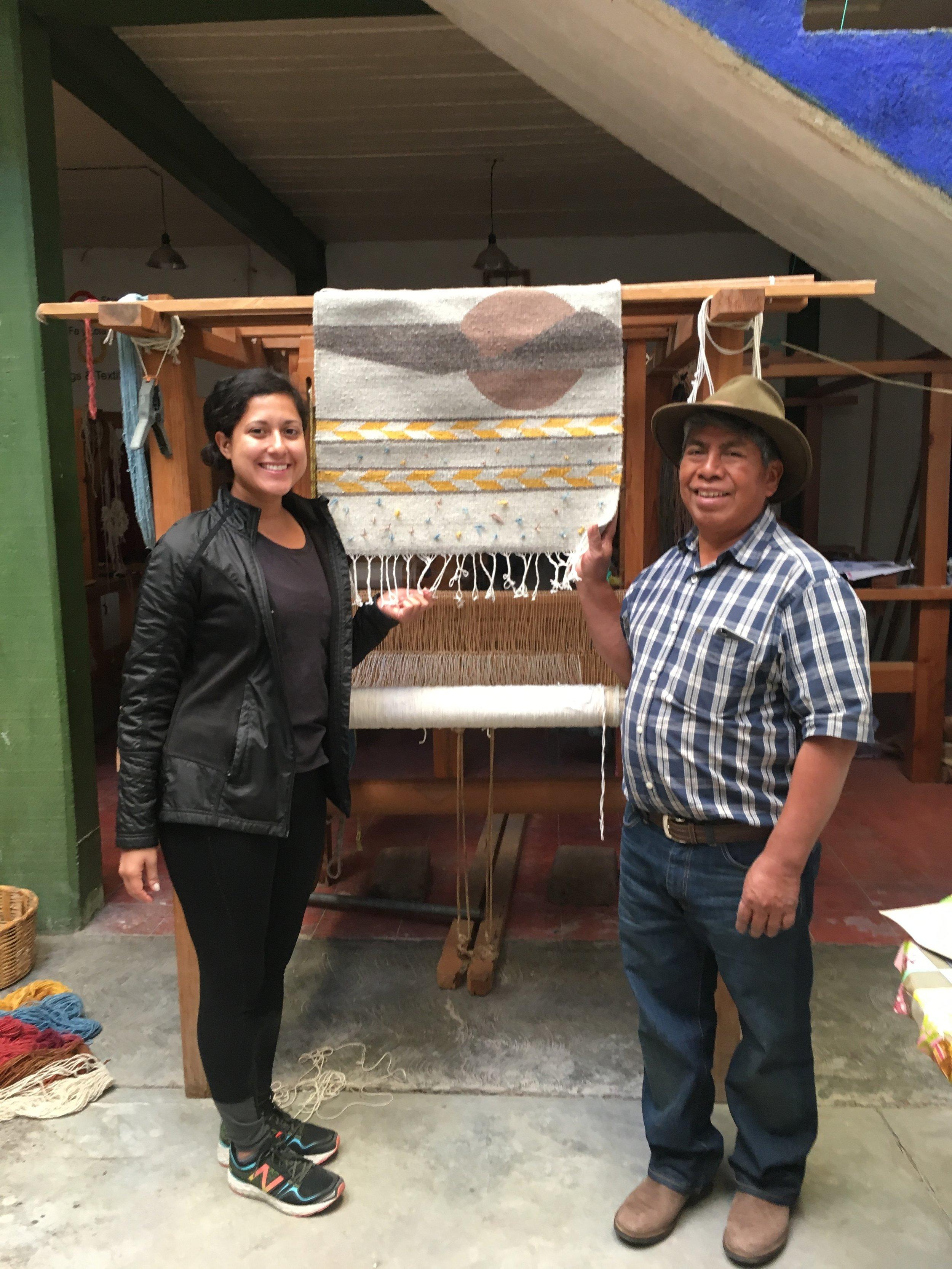 With master weaver at Fé y Lola in Teotitlán