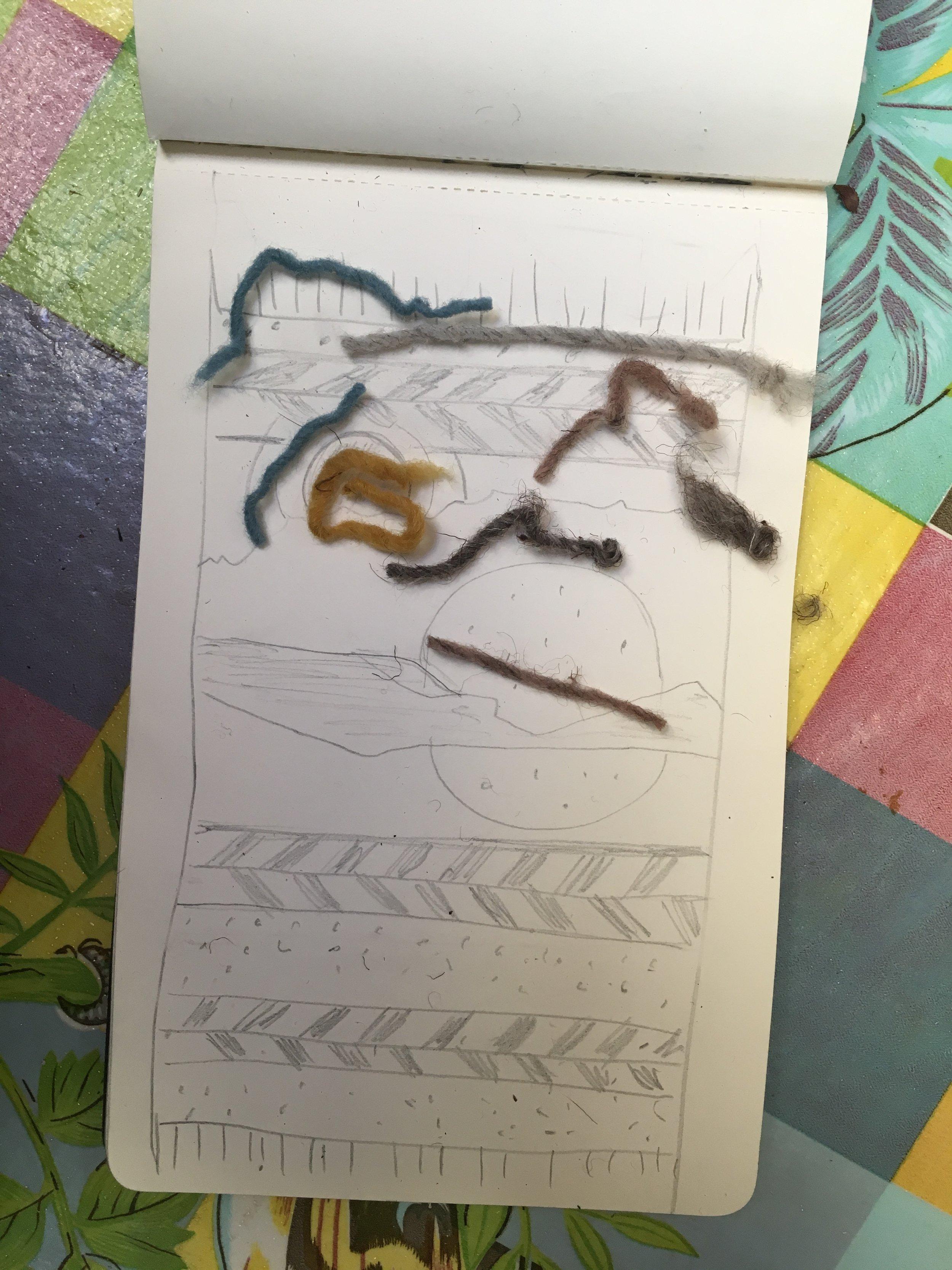 Designing my weaving at Fé y Lola in Teotitlán