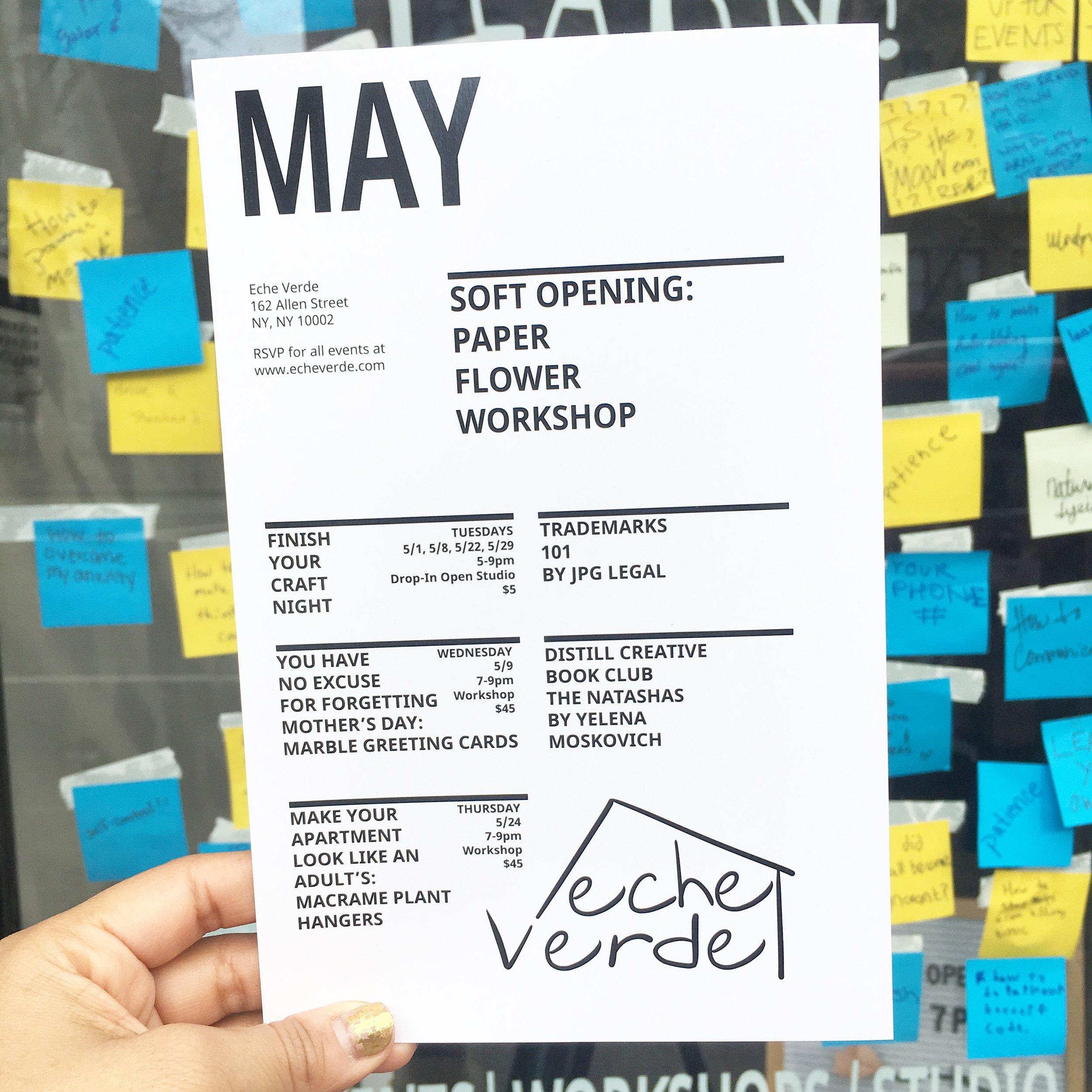 Eche Verde May Calendar
