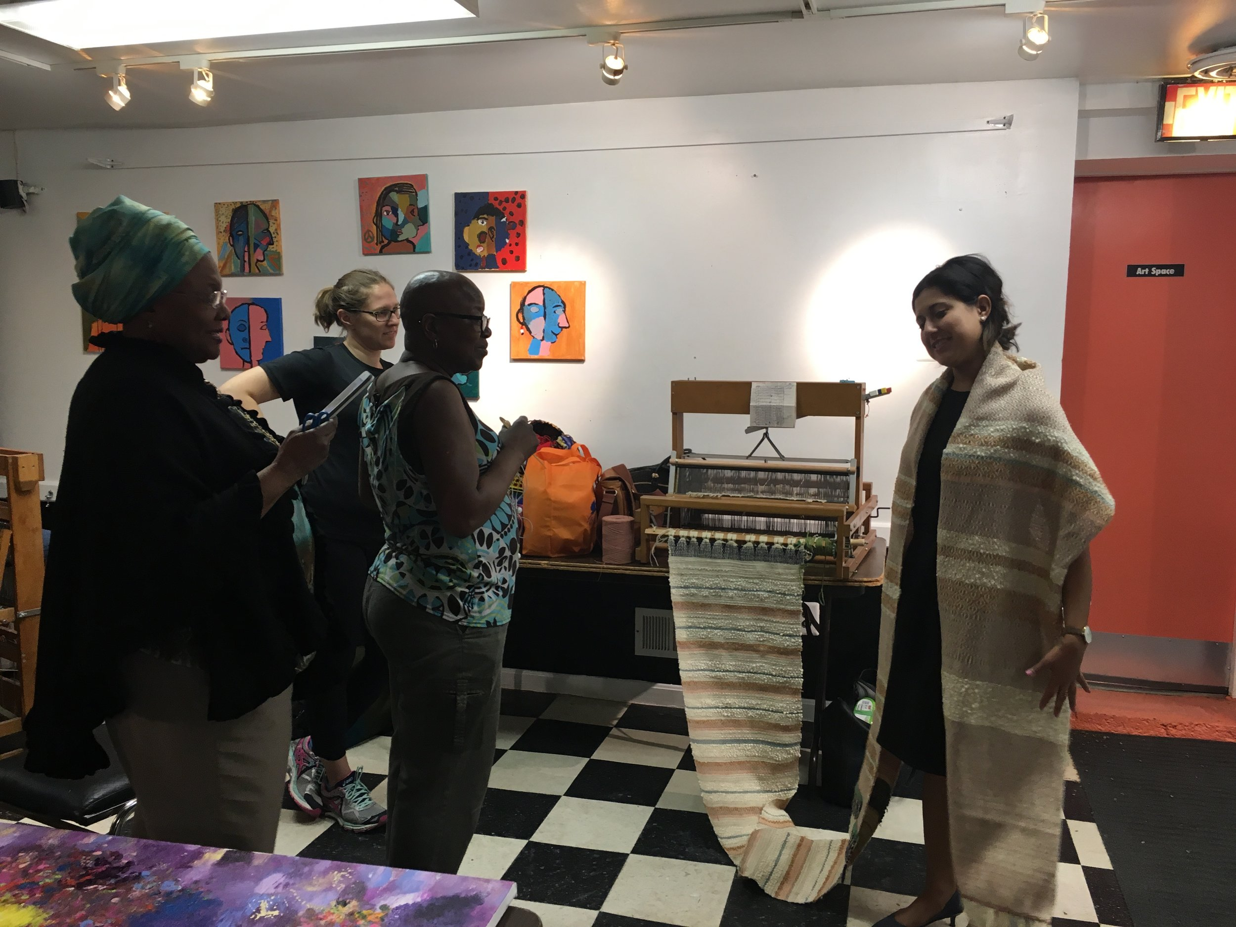 Fiber arts class at Artspace DC and me showing off a very long piece.