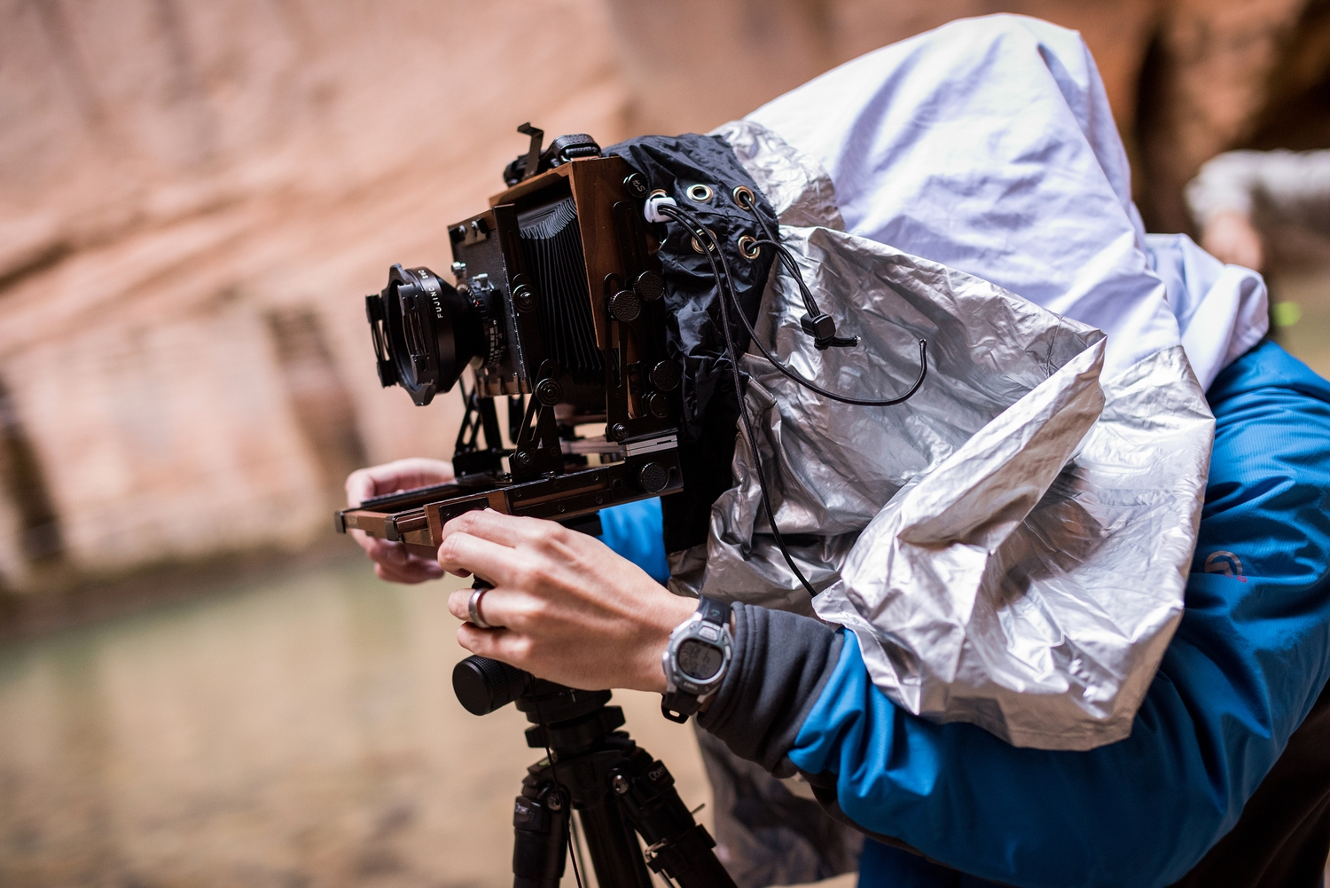 Composing an image in the Virgin River Narrows, Zion National Park. (Photo credit: Tommy Botello)
