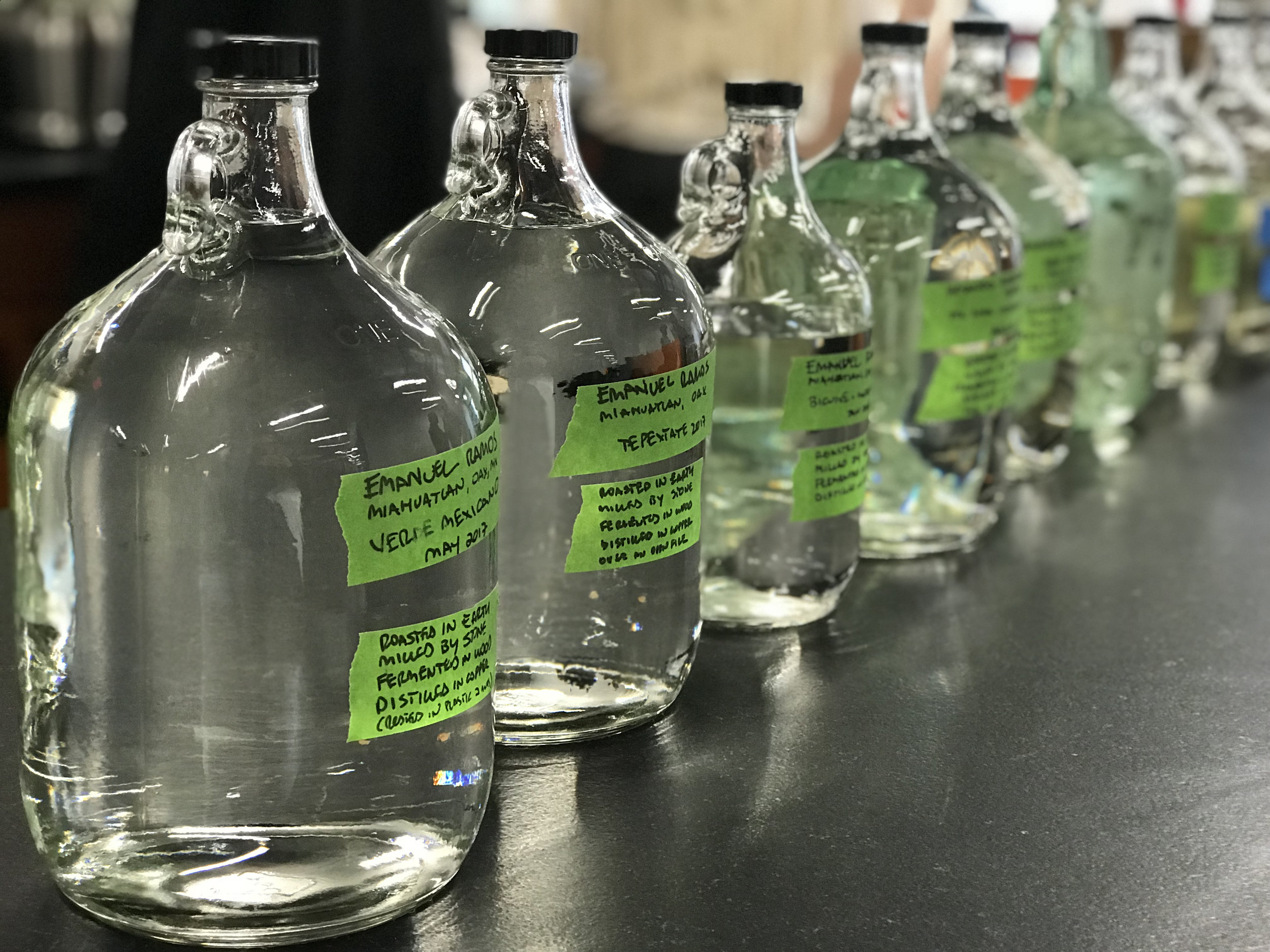 A variety of traditionally produced artisanal mezcals