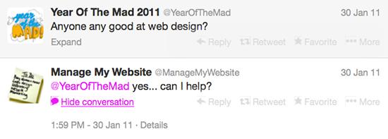 Matt Malone and Manage My Website's tweets