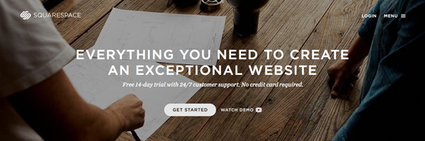sign up to Squarespace