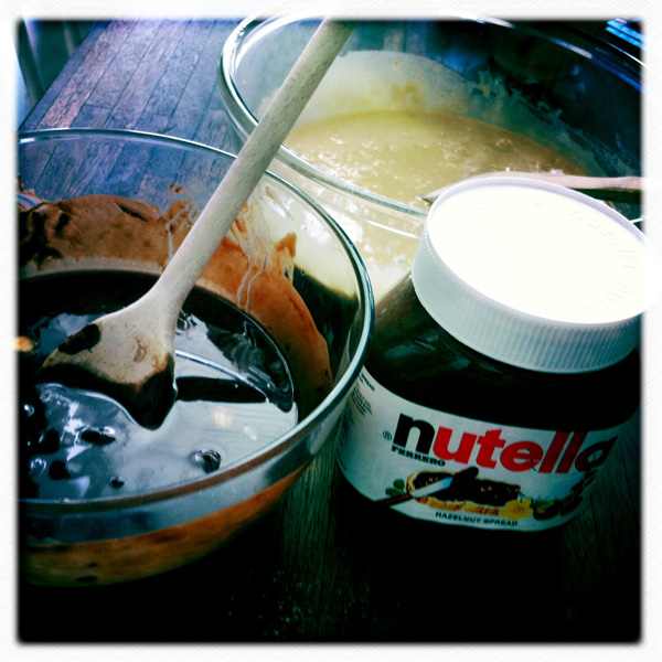 chocolate mixture, eggs and sugar mixture, Nutella