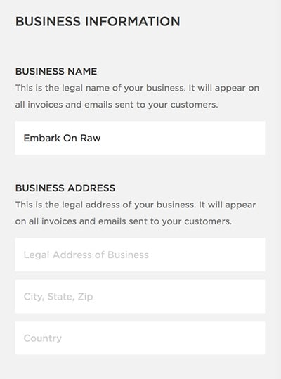 Business Information Squarespace