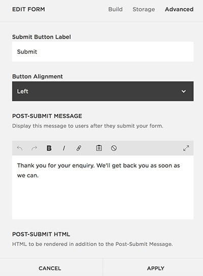 Form Advanced Settings Squarespace