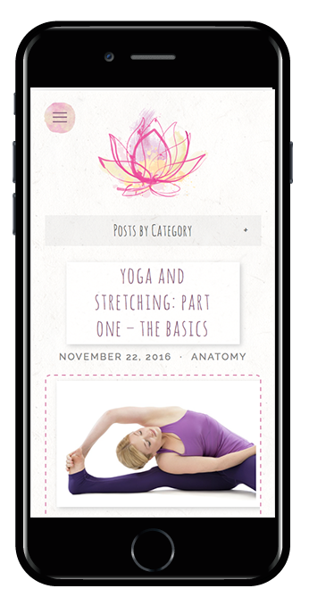 yoga teacher squarespace website pacific template mobile view