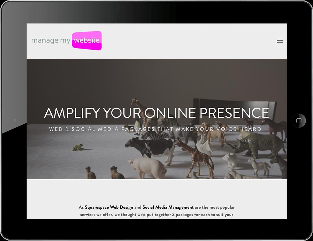 digital agency squarespace website hayden template tablet view