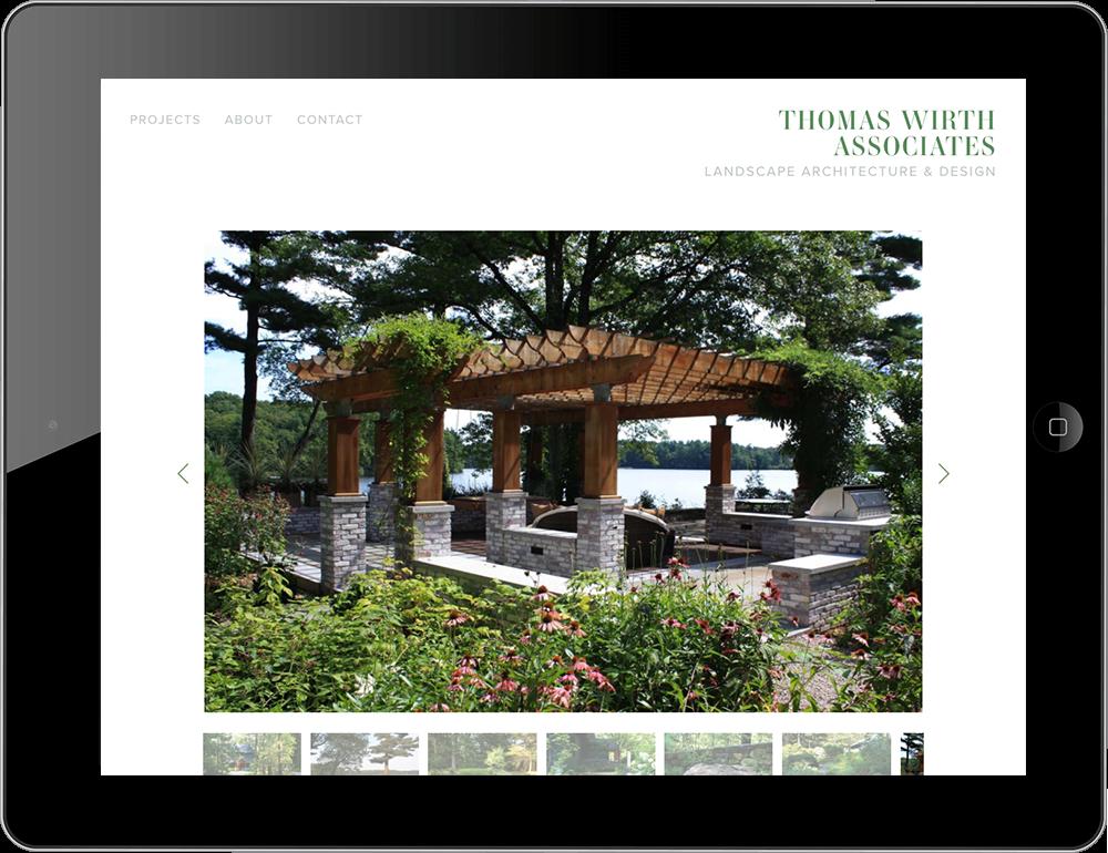 iPad view Squarespace garden landscape website