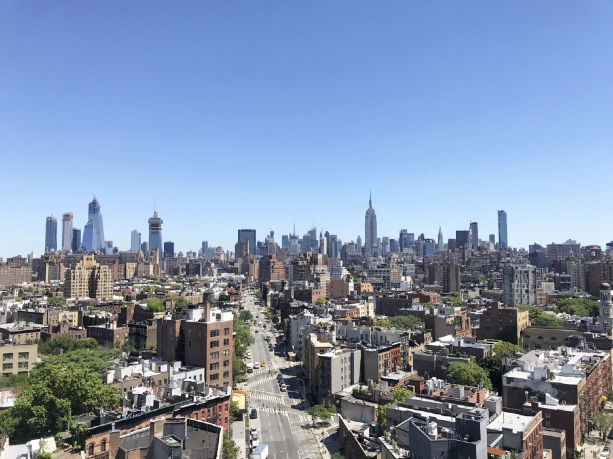View of New York City from the Squarespace roof terrace