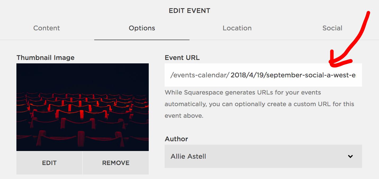 Event URL Squarespace SEO