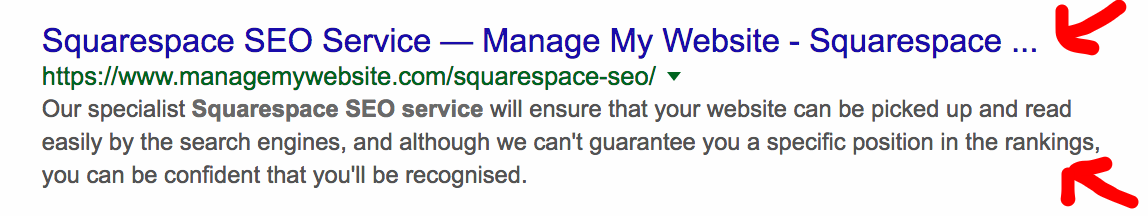Page title and description in Google results Squarespace SEO