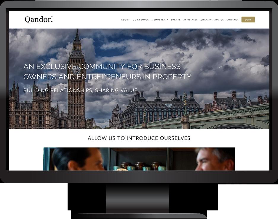Qandor Property Club website built with Squarespace