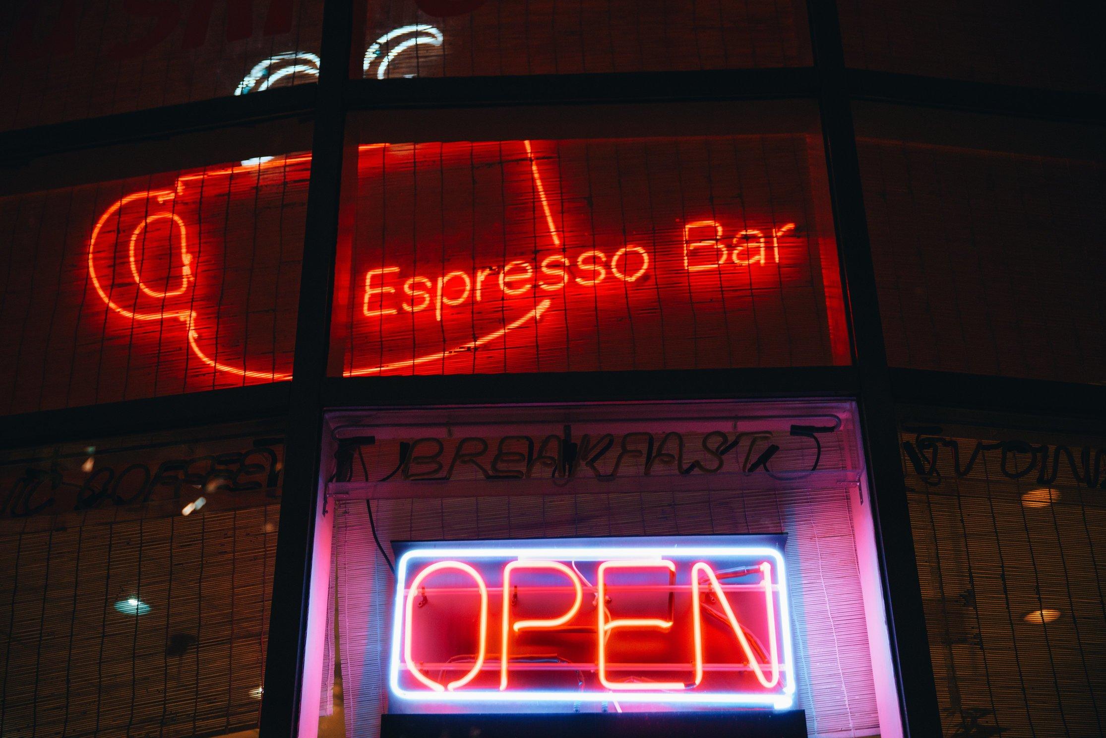 Espresso Bar Open Sign