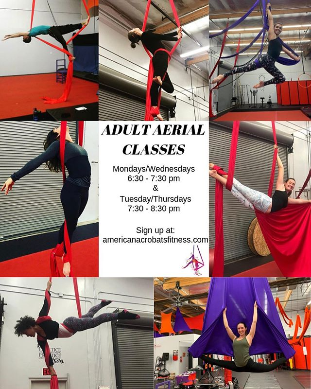 Hey there!  have you been wanting to try aerial for a while now, but wanted to do so with people your own age? We offer adult only classes designed for 18 and up!  Every Mon/Wed 6:30 - 7:30  every Tuesday/Thursday 7:30 - 8:30  Link Below to sign up! https://www.americanacrobatsfitness.com/take-a-class . . . #aerialribbon #flexibility #circus #aeriallear #lear #aerialistsofig #aerialist #flexibility #aapaf #circusclasses #aerialclasses #aerialtraining #circustraining #circusgym #circusschool #adultaerial #circus #redlandscircus #redlandsyoga #redlandsfitness #aerialsilks #aerialyoga #redlands #citrusplaza #circustrainer #acrobatics #getfit #redlandsca #makeup #cirquemakeup #circusmakeup