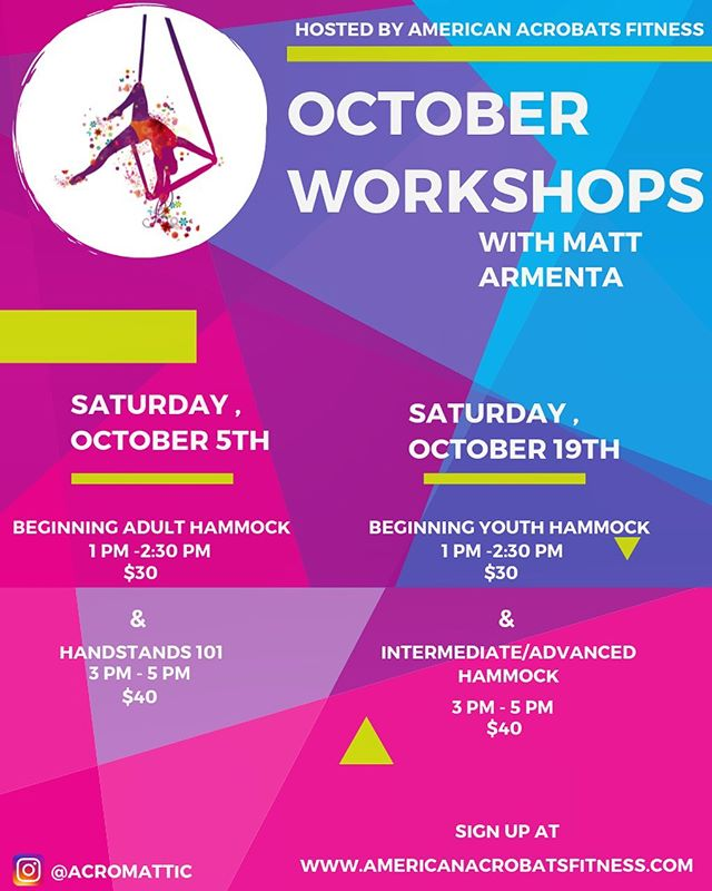 The next set of workshops with @acromattic are up on our mindbody!  October 5th: Beginning ADULT hammock 1-2:30 Handstands 3:00-5:00 . October 19th: Beginning Youth Hammock 1-2:30 Intermediate/Advanced Hammock 3:00-5:00 . Don't miss out! Sign up using the link in our bio! * * * #Redlands #redlandsca #aerial #circus #circustraining #circusgym #circusclasses #circuslife #performing #aerialyoga #yogaroom #silks #lyra #aerialhoop #stretching #flexibility #contortiontraining #aboutredlands #flexibiltytraining #training #circuspractice #practice #gymnastics #circusredlands #inlandempire #fitnessmotivation