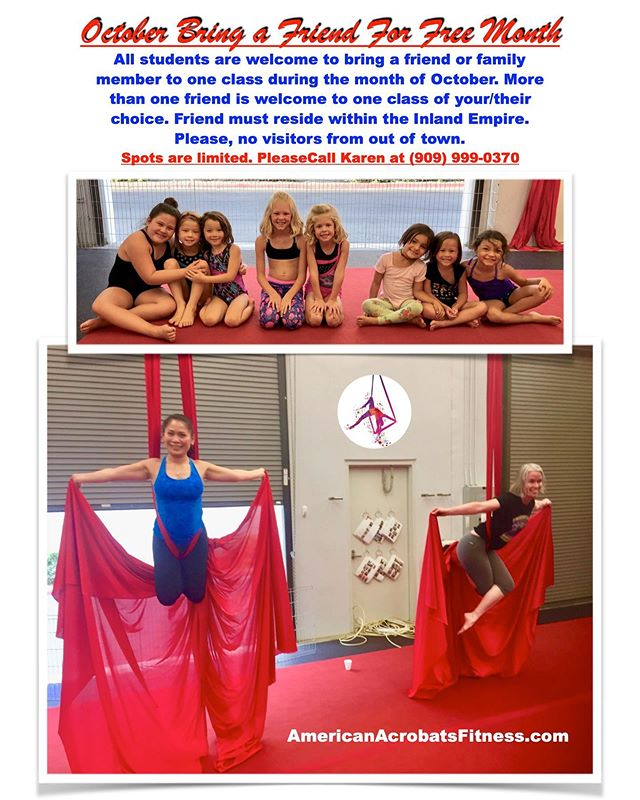 """this October is AAPAFs """"bring a friend for FREE"""" month! . All students are welcome and encouraged to bring a friend or family member to one class in the month of October. More than one friend is welcome to the class of their choice. Friend must reside in the inland empire. Please, no visitors from out of town. . . . #Redlands #redlandsca #aerial #circus #circustraining #circusgym #circusclasses #circuslife #performing #aerialyoga #yogaroom #silks #lyra #aerialhoop #stretching #flexibility #contortiontraining #aboutredlands #flexibiltytraining #training #circuspractice #practice #gymnastics #circusredlands #inlandempire #fitnessmotivation"""