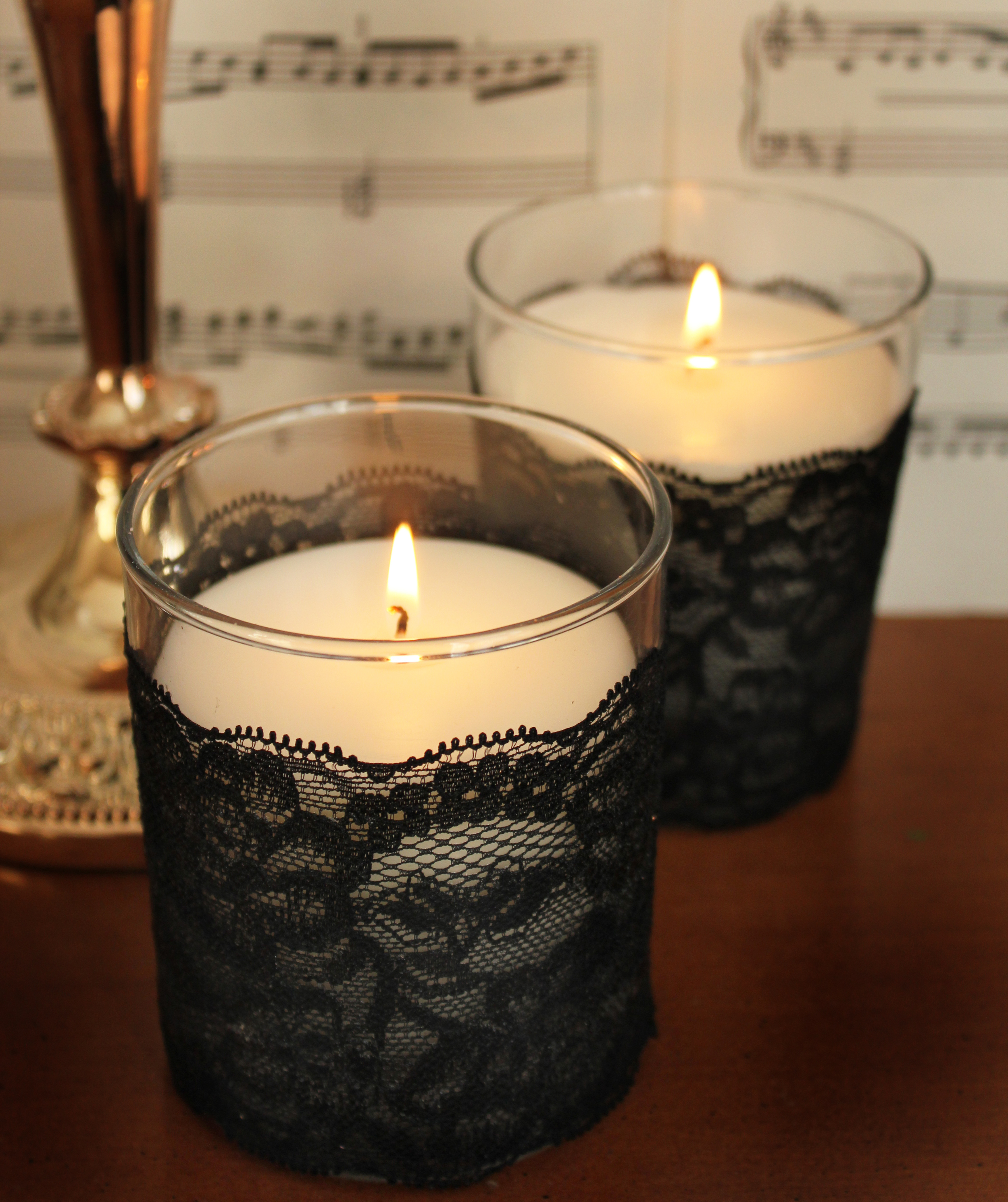 DIY Lavender Lace Candles