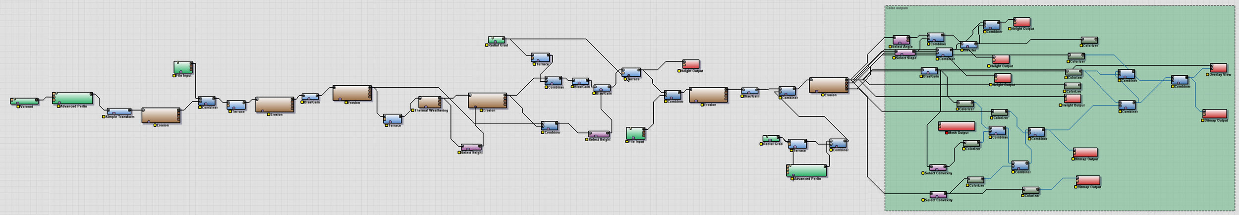 My terrain network. Iterated and output several times to keep it simple and fast. This is probably 1/4 the actual network