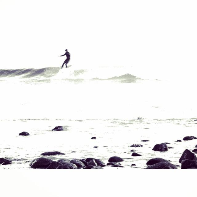 Nose-riding surfer captured on a recent trip to the Rincon point break near Santa Barbara California.