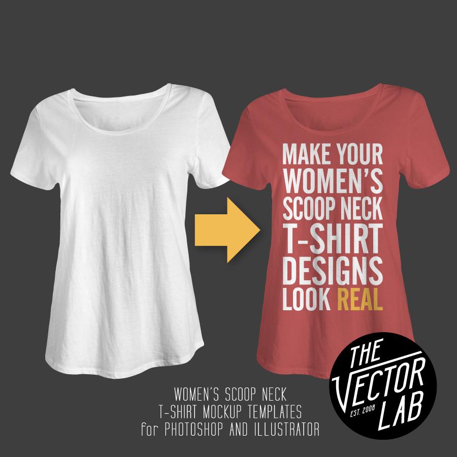Womens-Scoop-Neck-T-Shirt-Mockup-Templates