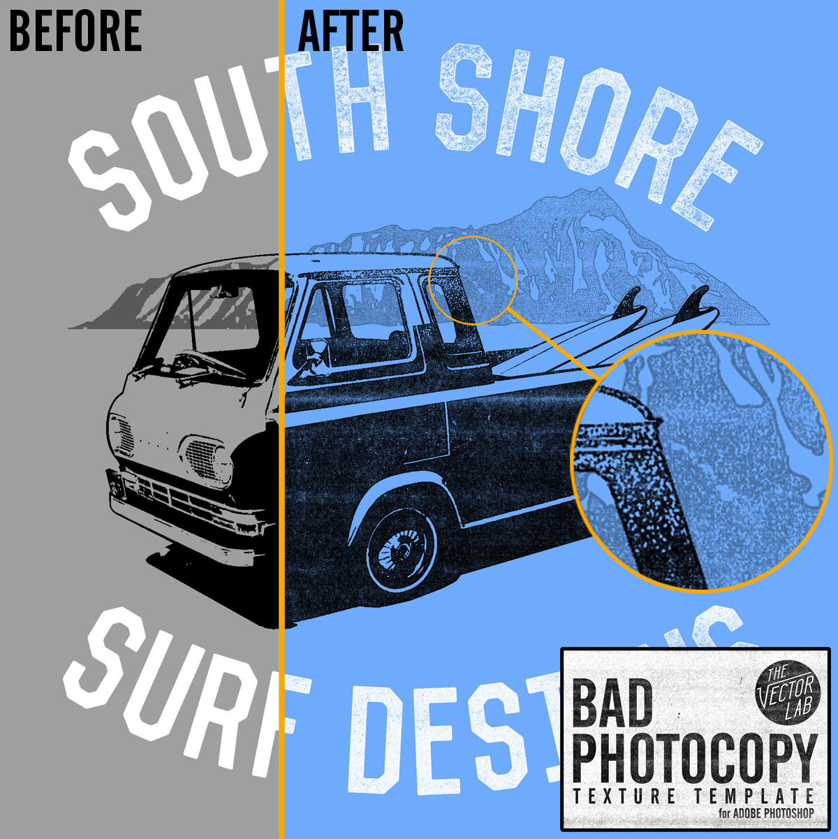 Bad Photocopy Texture - before after
